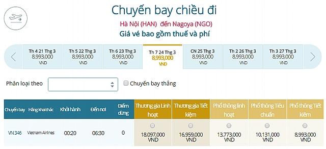 Giá vé máy bay Vietnam Airlines từ Hà Nội đi Tokyo Nagoya, Nhật Bản