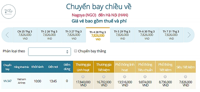Giá vé máy bay Vietnam Airlines từ Tokyo Nagoya, Nhật Bản đi Hà Nội