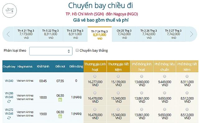 Giá vé máy bay Vietnam Airlines từ TPHCM đi Tokyo Nagoya, Nhật Bản