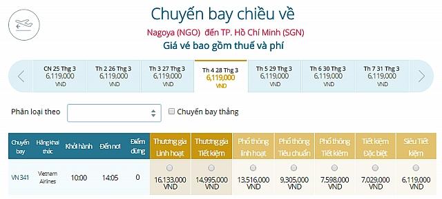 Giá vé máy bay Vietnam Airlines từ Tokyo Nagoya, Nhật Bản đi TPHCM