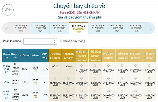 Giá vé máy bay Vietnam Airlines từ Paris, Pháp đi Hà Nội