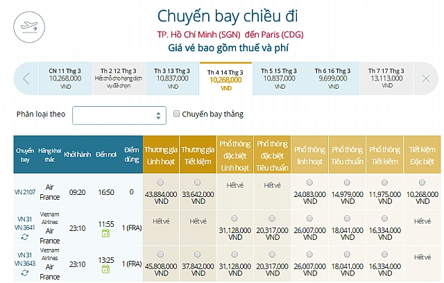Giá vé máy bay Vietnam Airlines từ TPHCM đi Paris, Pháp