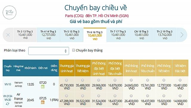 Giá vé máy bay Vietnam Airlines từ Paris, Pháp đi TPHCM