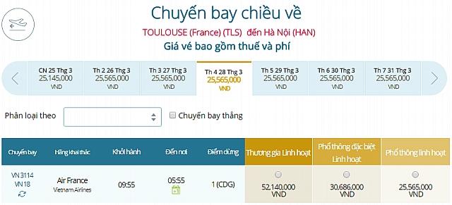 Giá vé máy bay Vietnam Airlines Toulouse, Pháp đi Hà Nội