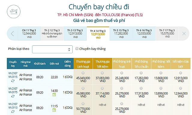 Giá vé máy bay Vietnam Airlines TPHCM đi Toulouse, Pháp