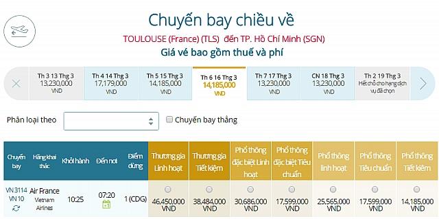 Giá vé máy bay Vietnam Airlines Toulouse, Pháp đi TPHCM
