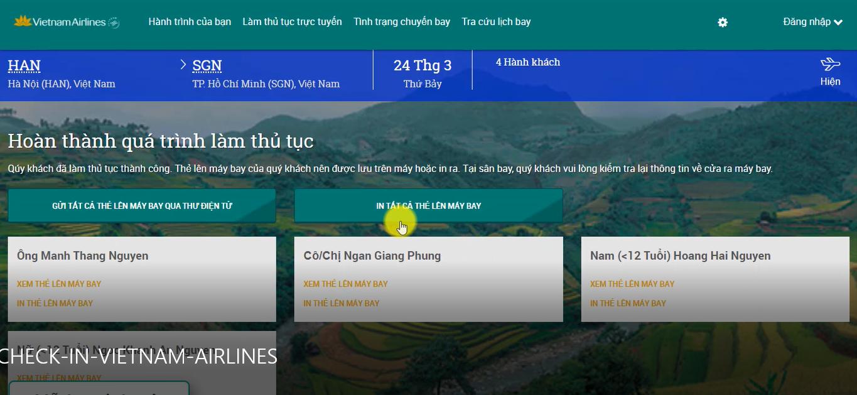 Hướng dẫn Check in trực tuyến hãng Vietnam Airlines - BƯỚC 04