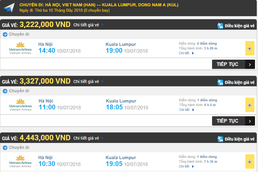 Giá vé máy bay hãng Vietnam Airlines đi Kuala Lumpur