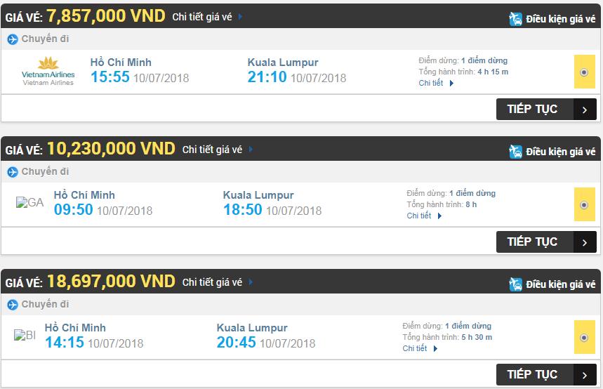 Giá vé máy bay hãng TPHCM đi Kuala Lumpur