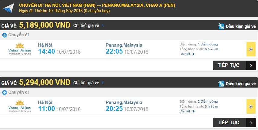 Giá vé máy bay hãng Vietnam Airlines đi Penang