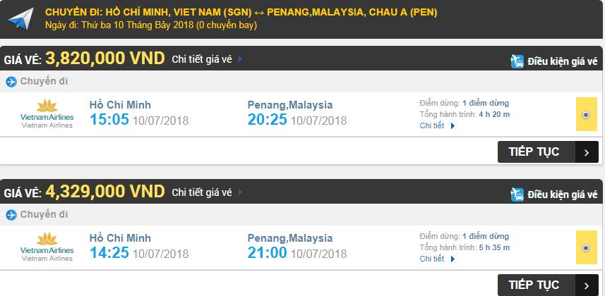 Giá vé máy bay TPHCM đi Penang