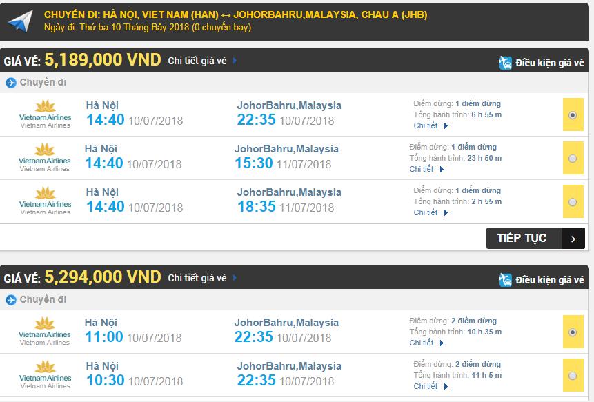 Giá vé máy bay hãng Vietnam Airlines đi Johor Bahru