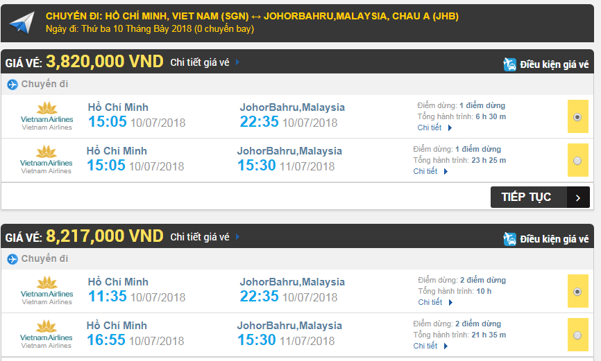 Giá vé máy bay TPHCM đi Johor Bahru