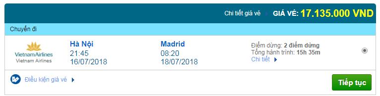 Giá vé máy bay Hà Nội đi Madrid, Tây Ban Nha
