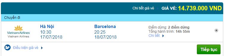 Giá vé máy bay Hà Nội đi Barcelona