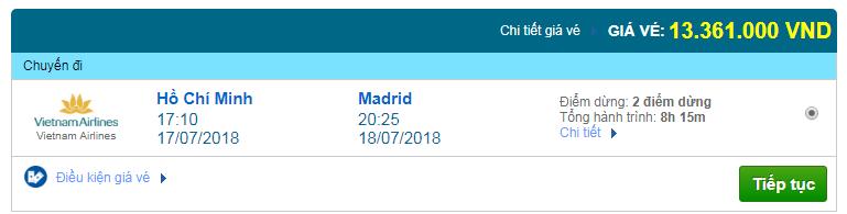 Giá vé máy bay Sài Gòn đi Madrid, Tây Ban Nha