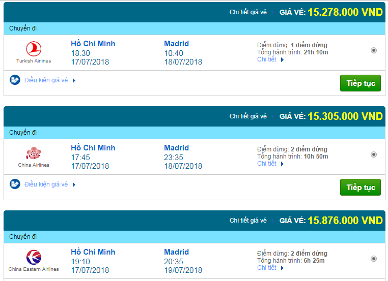 Giá vé máy bay đi Tây Ban Nha
