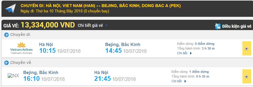 Giá vé máy bay Hà Nội đi Bắc Kinh
