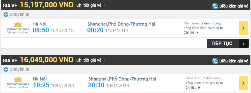 Giá vé máy bay Hà Nội đi Thượng Hải