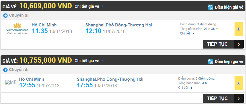 Giá vé máy bay TPHCM đi Thượng Hải