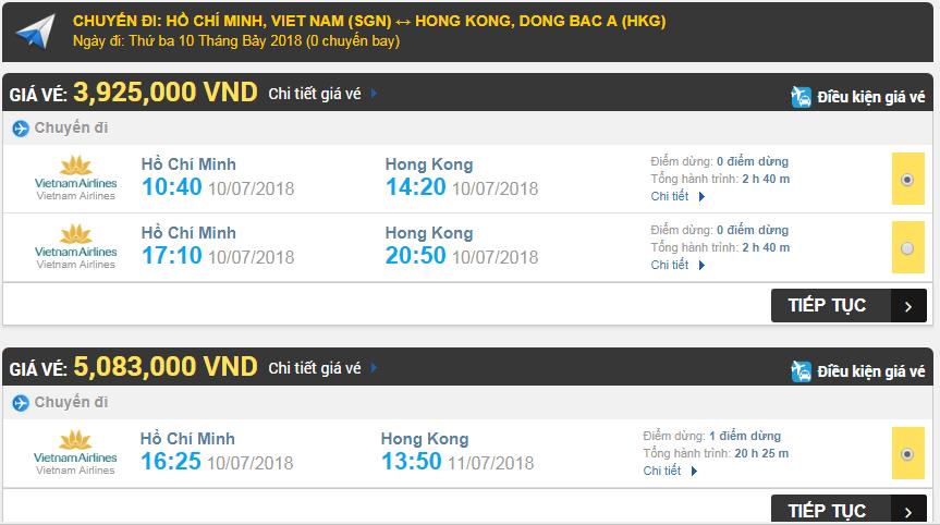 vé máy bay hãng Vietnam Airlines đi Hongkong