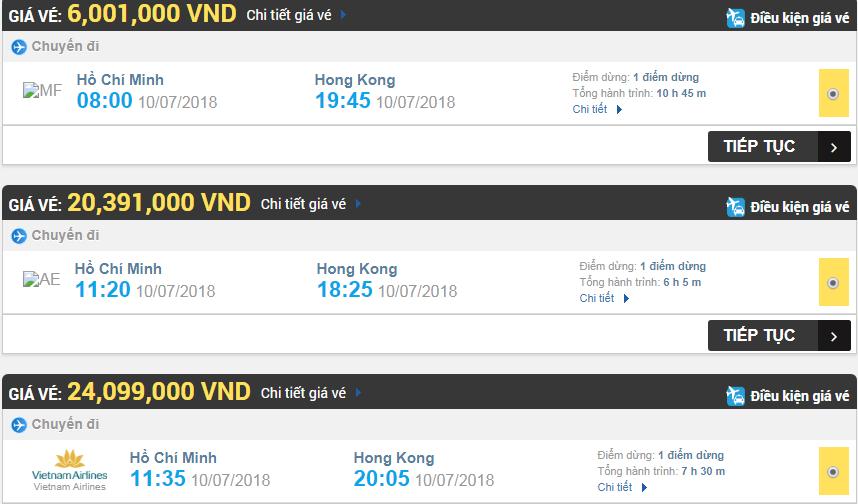 Giá vé máy bay hãng Vietnam Airlines đi Hongkong