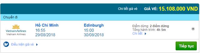 Vé máy bay Vietnam Airlines đi Edinburgh, Anh