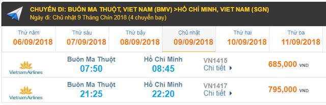 Giá vé máy bay Vietnam Airlines TP HCM đi Buôn Ma Thuột