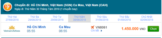 Vé máy bay Vietnam Airlines Sài Gòn đi Cà Mau
