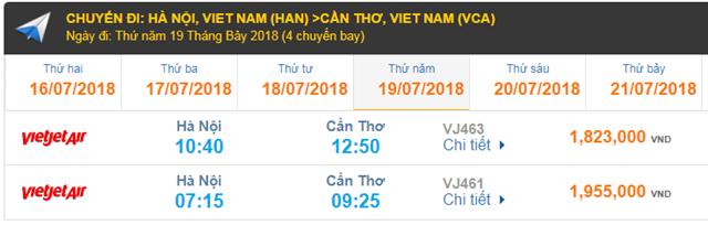 Giá Vé máy bay Hà Nội đi Cần Thơ