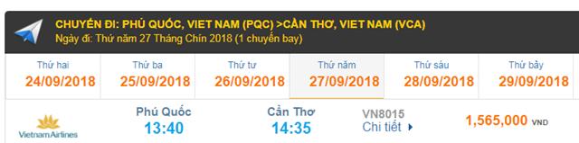 Giá Vé máy bay Phú Quốc đi Cần Thơ