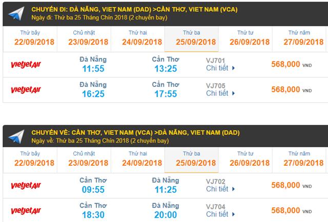Giá Vé máy bay Đà Nẵng đi Cần Thơ