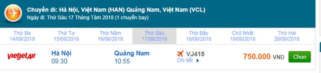 vé máy bay Hà Nội đi Chu Lai Vietjet Air