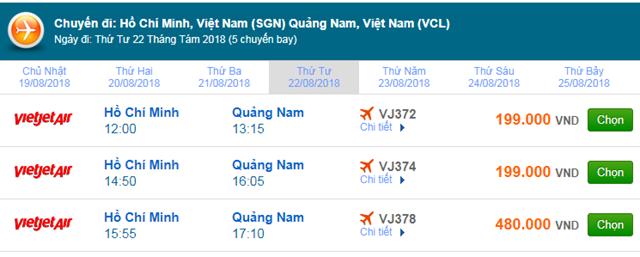 Vé máy bay TPHCM đi Chu Lai, Quảng Nam