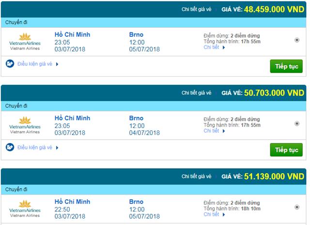 Giá vé máy bay Vietnam Airlines đi Ostrava, Cộng Hòa Séc