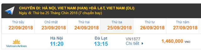 Vé máy bay đi Đà Lạt của hãng hàng không Vietnam Airlines
