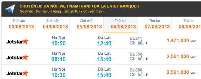 Giá vé máy bay đi Đà Lạt Jetstar