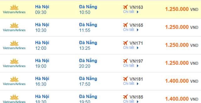 Giá vé máy bay Vietnam Airlines Hà Nội đi Đà Nẵng