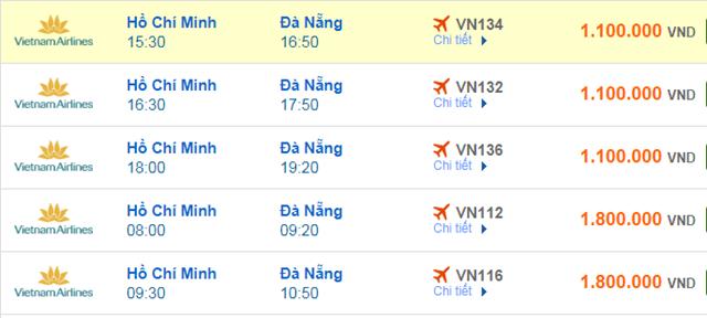 Giá vé máy bay Vietnam Airlines TP HCM đi Đà Nẵng