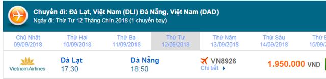 Giá vé máy bay Vietnam Airlines đi Đà Nẵng