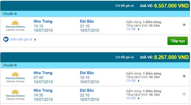 Vé máy bay Vietnam Airlines đi Đài Bắc, Đài Loan