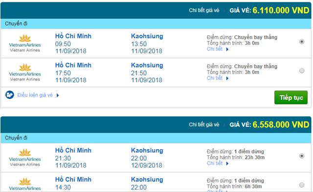 Vé máy bay Vietnam Airlines đi Cao Hùng, Đài Loan