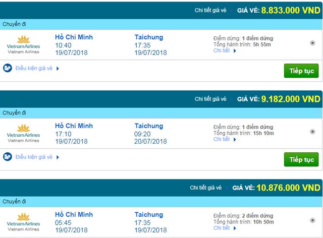 Vé máy bay Vietnam Airlines đi Đài Trung, Đài Loan