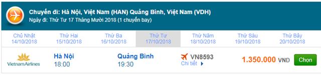 Vé máy bay Vietnam Airlines Hà Nội đi Đồng Hới, Quảng Binh