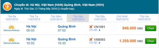 Vé máy bay Vietnam Airlines Hà Nội đi Đồng Hới, Quảng Bình