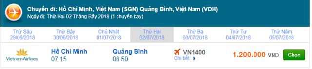 Vé máy bay Vietnam Airlines TPHCM đi Đồng Hới, Quảng Binh