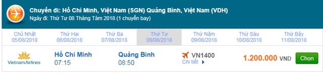 Vé máy bay Vietnam Airlines TPHCM đi Đồng Hới, Quảng Bình