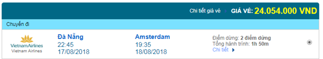 Vé máy bay Vietnam Airlines đi Amsterdam, Hà Lan