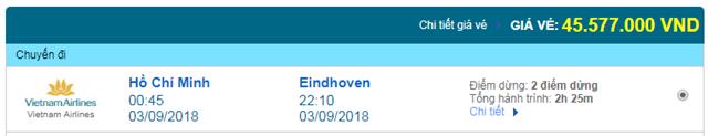 Vé máy bay Vietnam Airlines đi Eindhoven, Hà Lan