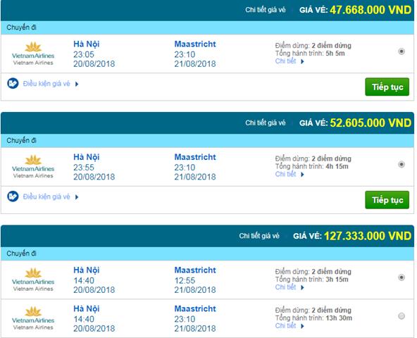 Vé máy bay Vietnam Airlines đi Maastricht, Hà Lan